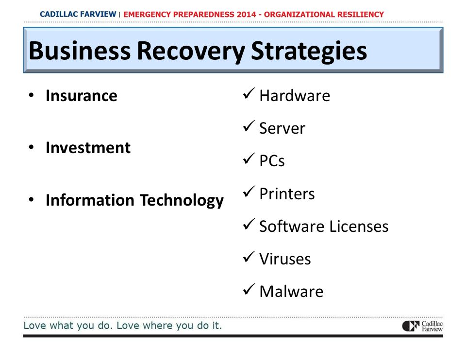 Business Recovery Strategies Insurance Investment Information Technology Hardware Server PCs Printers Software Licenses Viruses Malware
