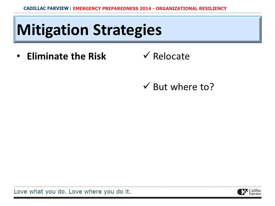 Mitigation Strategies Eliminate the Risk Relocate But where to?