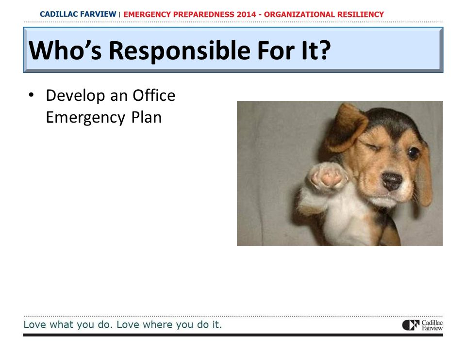 Who's Responsible For It? Develop an Office Emergency Plan