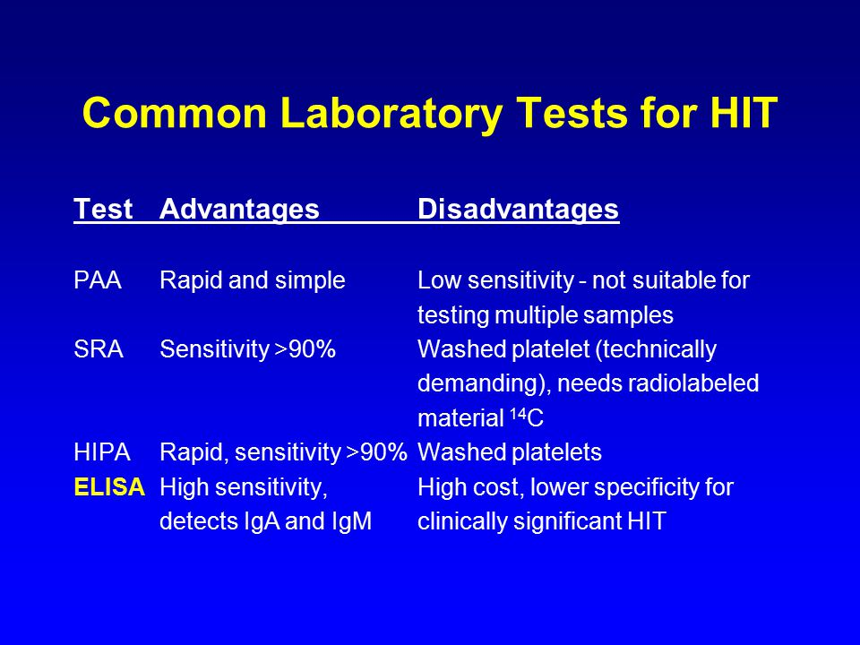 Common Laboratory Tests for HIT TestAdvantagesDisadvantages PAARapid and simpleLow sensitivity - not suitable for testing multiple samples SRASensitivity >90%Washed platelet (technically demanding), needs radiolabeled material 14 C HIPARapid, sensitivity >90%Washed platelets ELISAHigh sensitivity,High cost, lower specificity for detects IgA and IgMclinically significant HIT