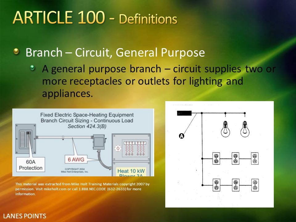 LANES POINTS Branch – Circuit, General Purpose A general purpose branch – circuit supplies two or more receptacles or outlets for lighting and applian