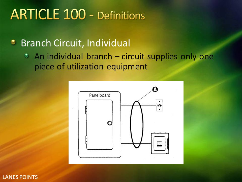 LANES POINTS Branch Circuit, Individual An individual branch – circuit supplies only one piece of utilization equipment