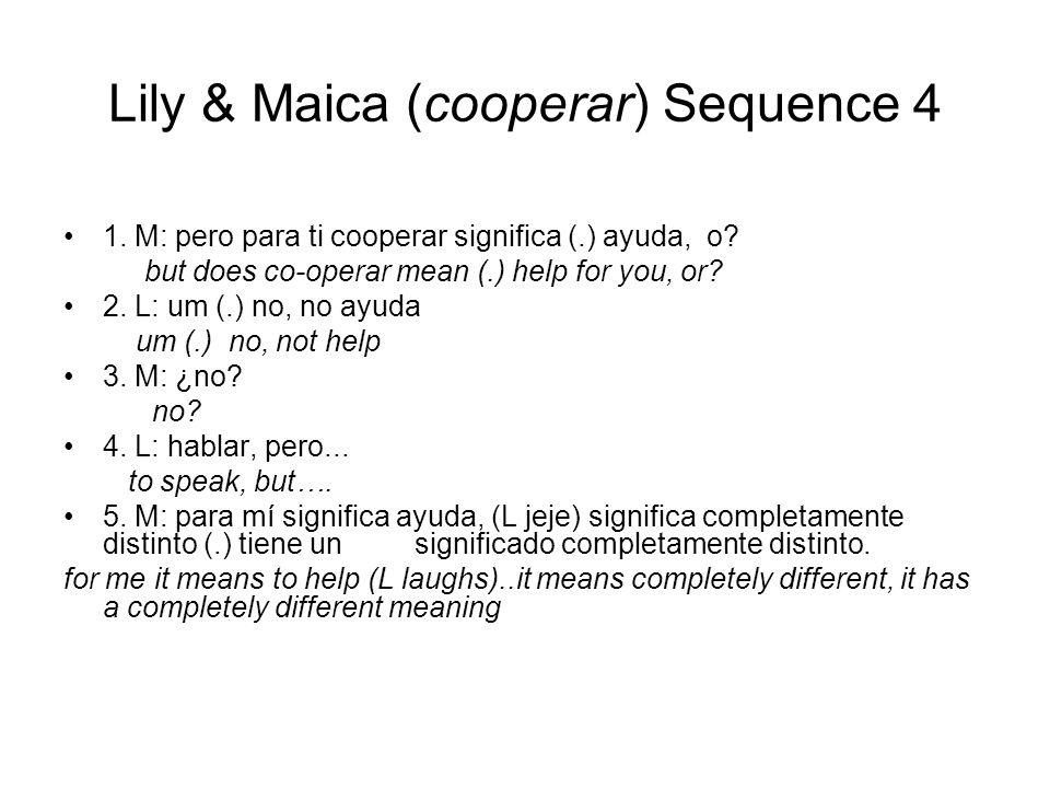 Lily & Maica (cooperar) Sequence 4 1. M: pero para ti cooperar significa (.) ayuda, o.