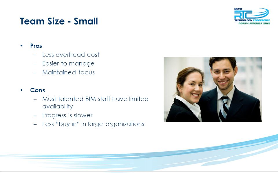 """Pros –Less overhead cost –Easier to manage –Maintained focus Cons –Most talented BIM staff have limited availability –Progress is slower –Less """"buy in"""