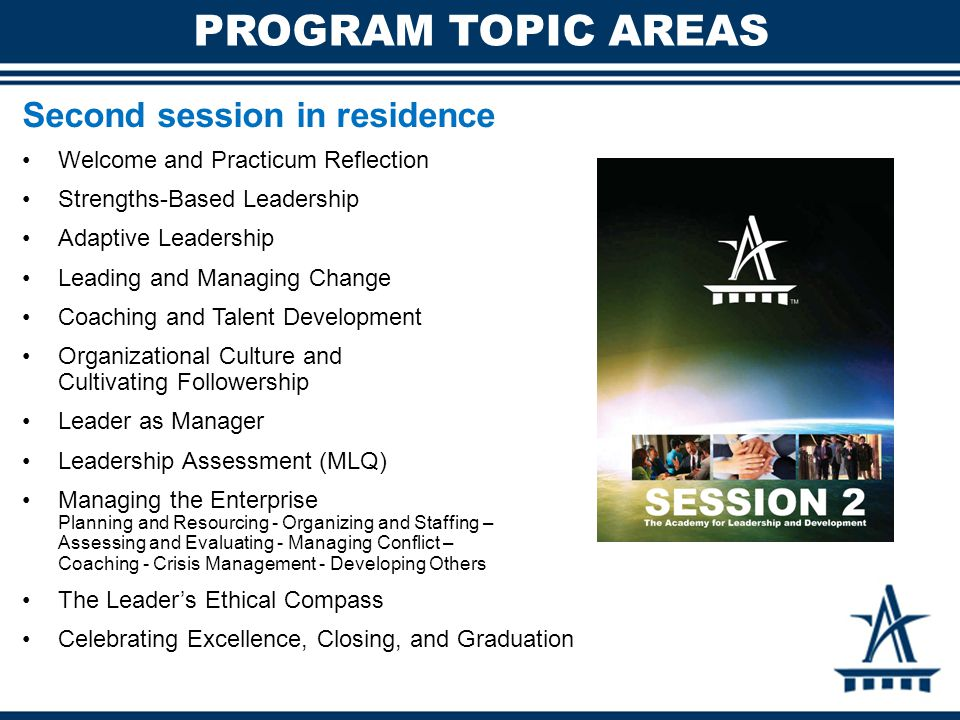 PROGRAM TOPIC AREAS Second session in residence Welcome and Practicum Reflection Strengths-Based Leadership Adaptive Leadership Leading and Managing C