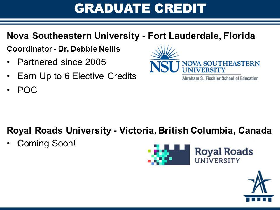 GRADUATE CREDIT Nova Southeastern University - Fort Lauderdale, Florida Coordinator - Dr.