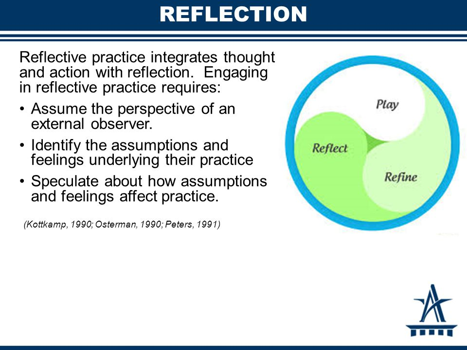 REFLECTION Reflective practice integrates thought and action with reflection. Engaging in reflective practice requires: Assume the perspective of an e