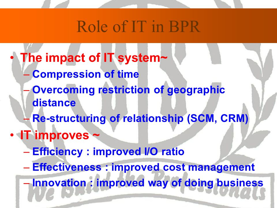 Role of IT in BPR The impact of IT system~ –Compression of time –Overcoming restriction of geographic distance –Re-structuring of relationship (SCM, CRM) IT improves ~ –Efficiency : improved I/O ratio –Effectiveness : improved cost management –Innovation : improved way of doing business