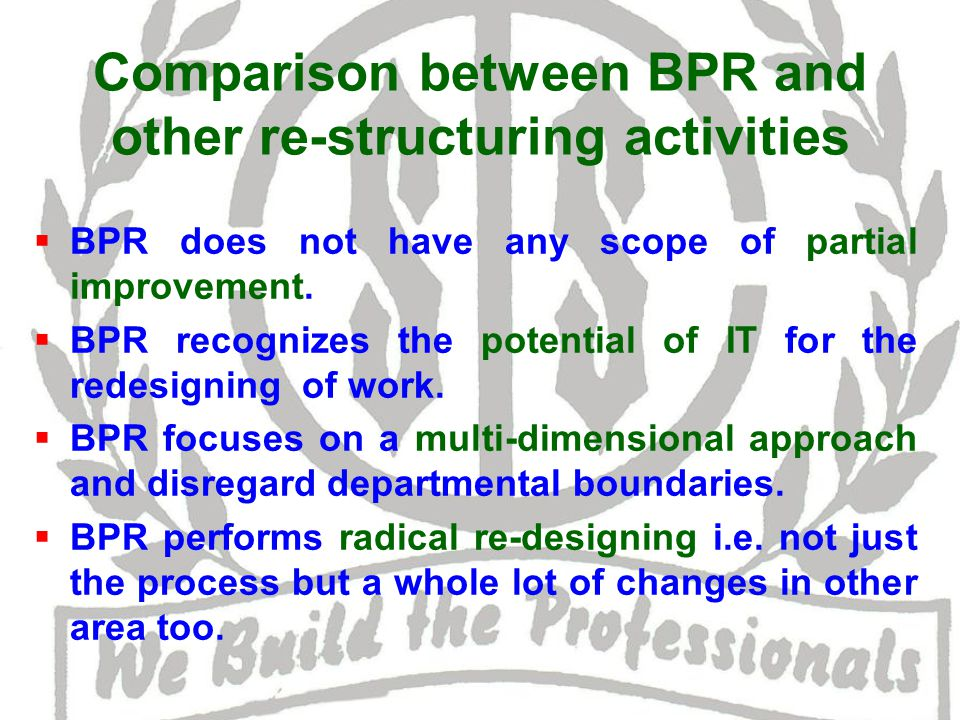 Comparison between BPR and other re-structuring activities  BPR does not have any scope of partial improvement.