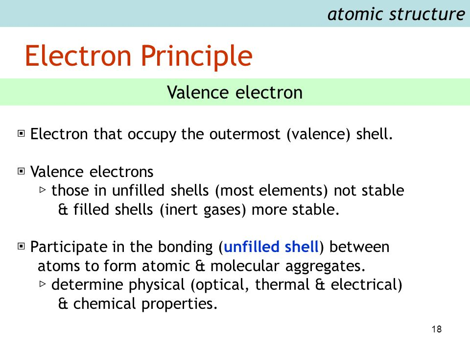 18 Electron Principle atomic structure Valence electron ▣ Electron that occupy the outermost (valence) shell. ▣ Valence electrons ▷ those in unfilled