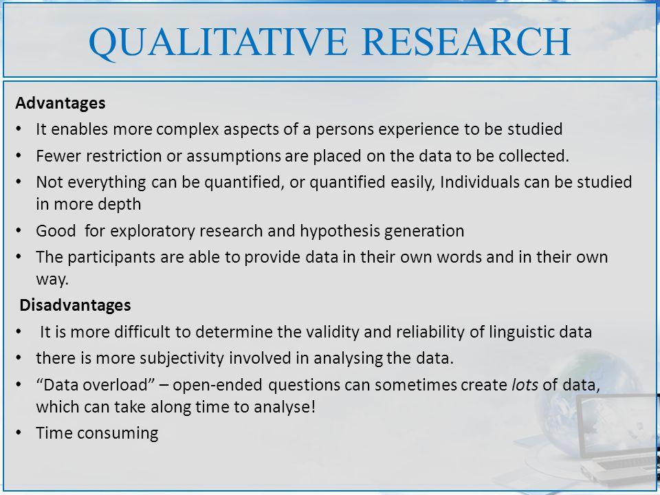 Disadvantages of qualitative research methods