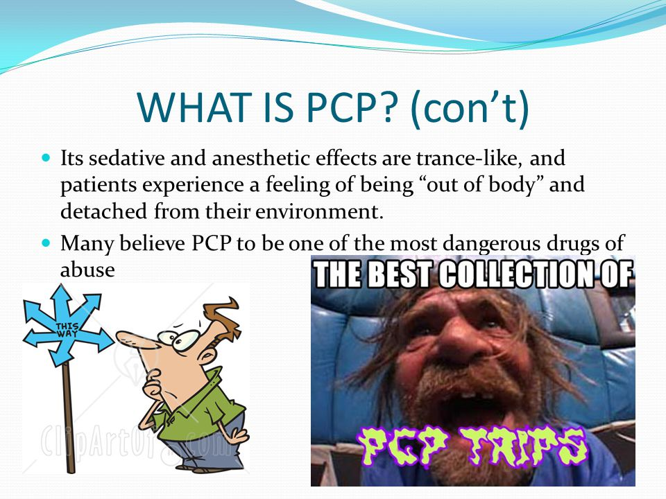 "WHAT IS PCP? (con't) Its sedative and anesthetic effects are trance-like, and patients experience a feeling of being ""out of body"" and detached from t"