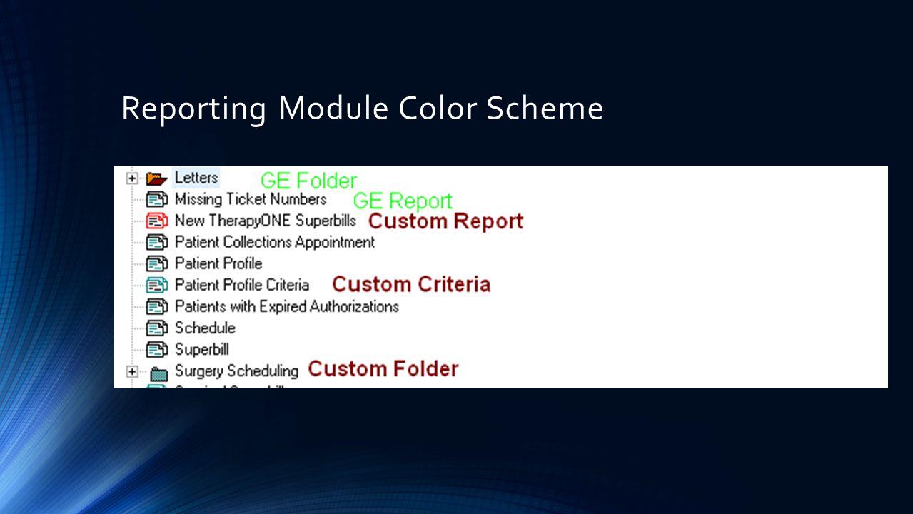Reporting Module Color Scheme