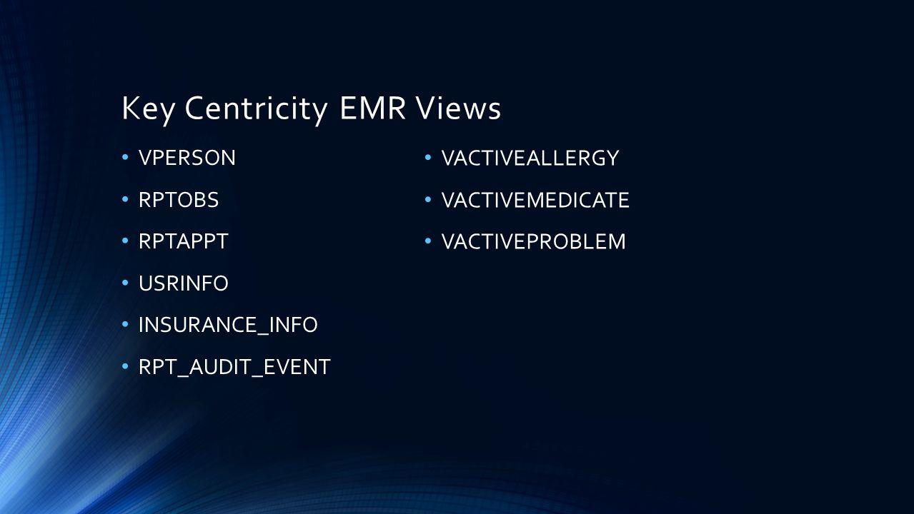 Key Centricity EMR Views VPERSON RPTOBS RPTAPPT USRINFO INSURANCE_INFO RPT_AUDIT_EVENT VACTIVEALLERGY VACTIVEMEDICATE VACTIVEPROBLEM