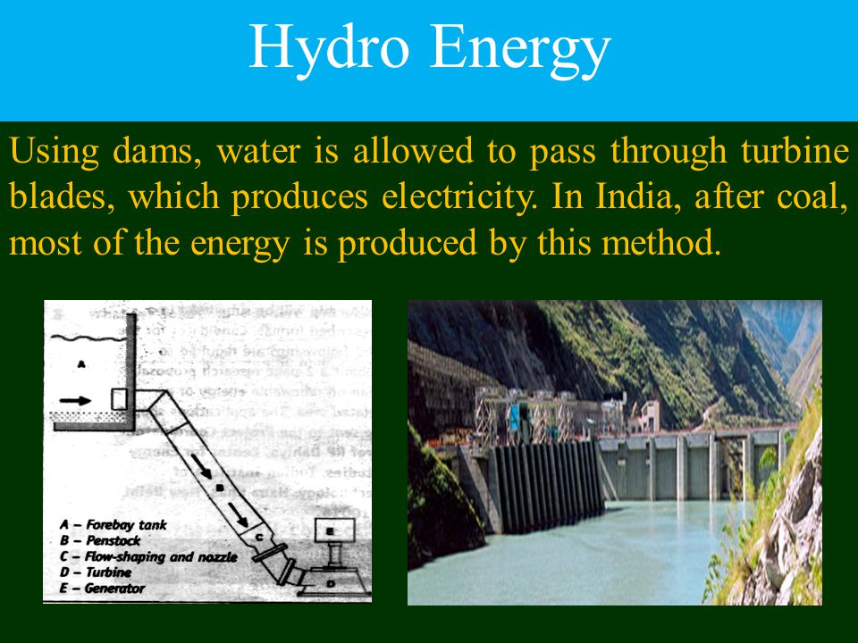 Hydro Energy Using dams, water is allowed to pass through turbine blades, which produces electricity. In India, after coal, most of the energy is prod
