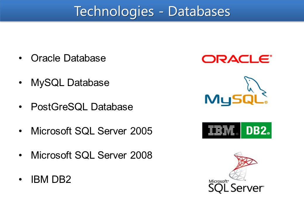 Oracle Database MySQL Database PostGreSQL Database Microsoft SQL Server 2005 Microsoft SQL Server 2008 IBM DB2 Technologies - Databases