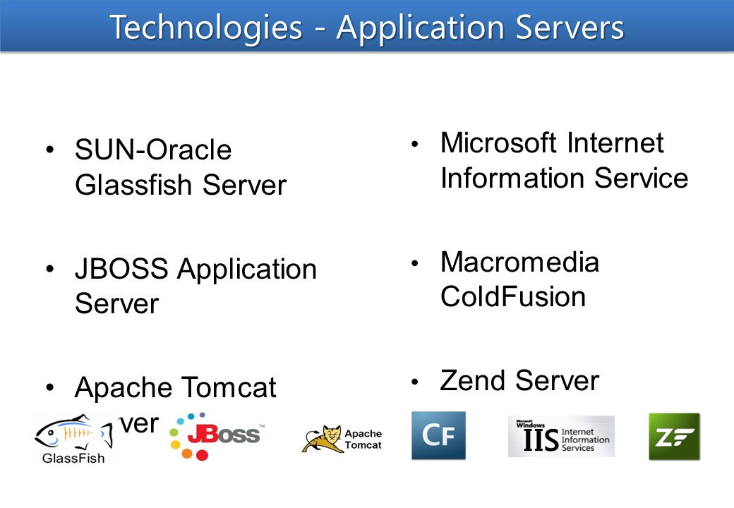 SUN-Oracle Glassfish Server JBOSS Application Server Apache Tomcat Server Microsoft Internet Information Service Macromedia ColdFusion Zend Server Technologies - Application Servers