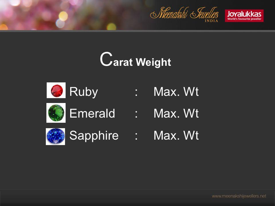 C arat Weight Ruby: Max. Wt Emerald : Max. Wt Sapphire: Max. Wt