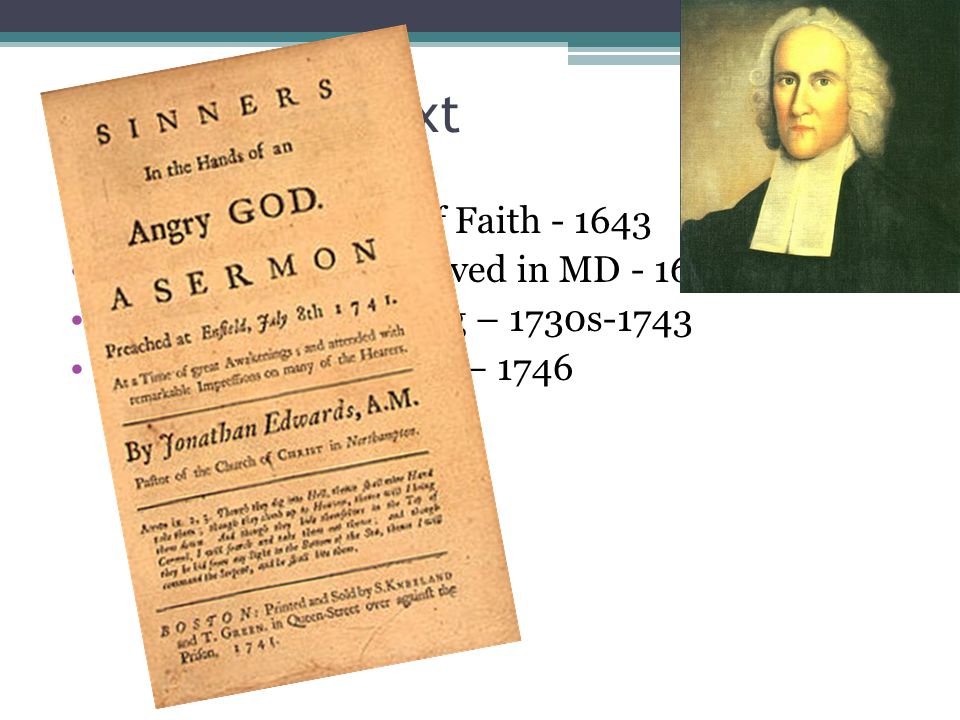 Westminster Conf. of Faith - 1643 Francis Makemie arrived in MD - 1683 First Great Awakening – 1730s-1743 College of New Jersey – 1746 Princeton Semin