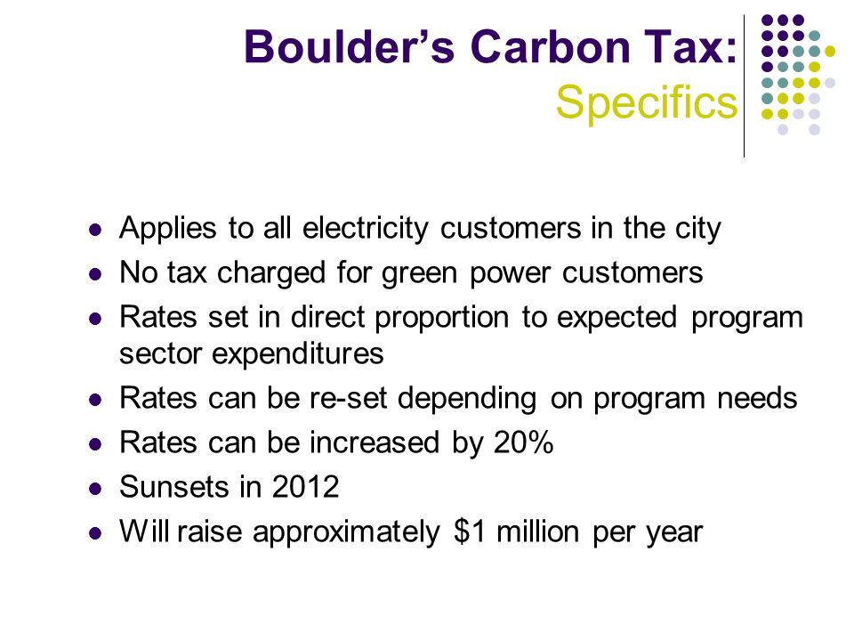 Boulder's Carbon Tax: Specifics Applies to all electricity customers in the city No tax charged for green power customers Rates set in direct proportion to expected program sector expenditures Rates can be re-set depending on program needs Rates can be increased by 20% Sunsets in 2012 Will raise approximately $1 million per year