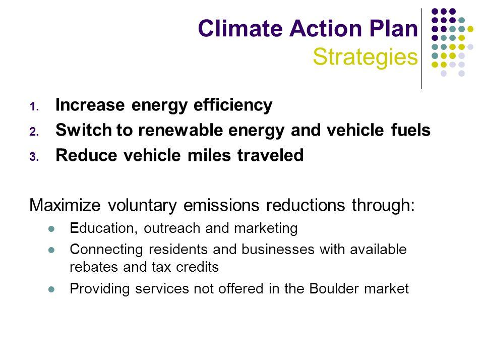 Climate Action Plan Strategies 1. Increase energy efficiency 2.