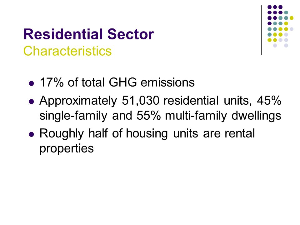 Residential Sector Characteristics 17% of total GHG emissions Approximately 51,030 residential units, 45% single-family and 55% multi-family dwellings Roughly half of housing units are rental properties