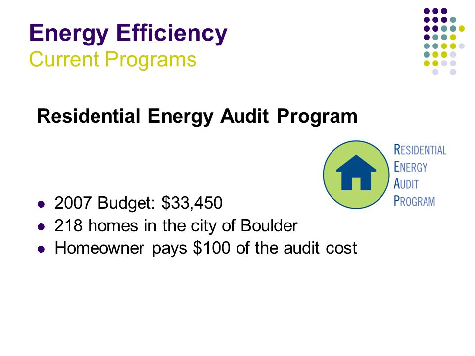 Energy Efficiency Current Programs Residential Energy Audit Program 2007 Budget: $33,450 218 homes in the city of Boulder Homeowner pays $100 of the audit cost