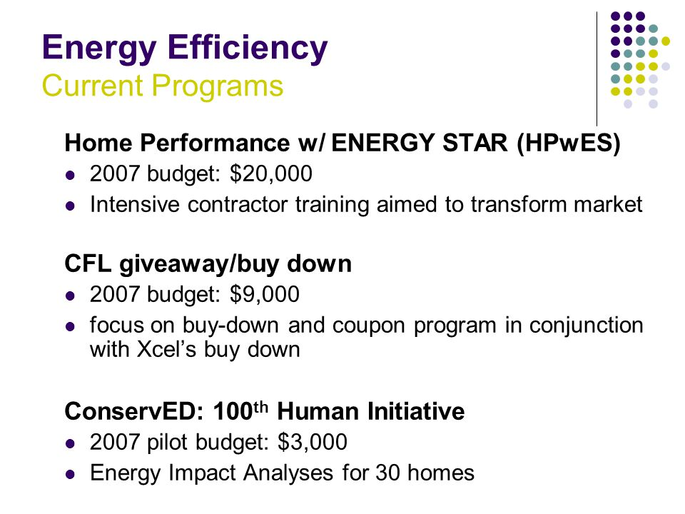 Energy Efficiency Current Programs Home Performance w/ ENERGY STAR (HPwES) 2007 budget: $20,000 Intensive contractor training aimed to transform market CFL giveaway/buy down 2007 budget: $9,000 focus on buy-down and coupon program in conjunction with Xcel's buy down ConservED: 100 th Human Initiative 2007 pilot budget: $3,000 Energy Impact Analyses for 30 homes