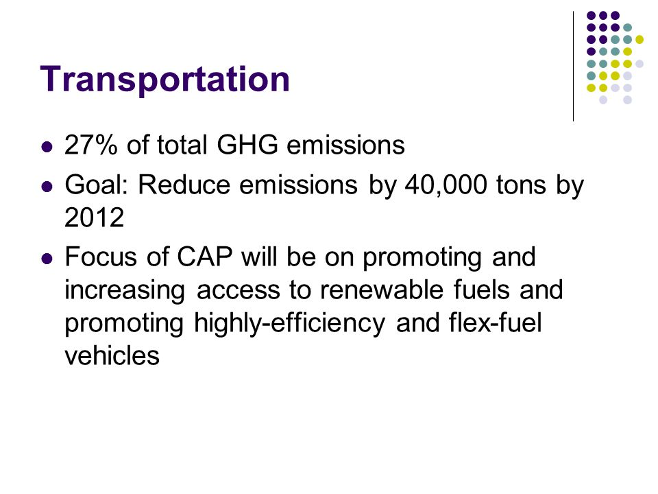 Transportation 27% of total GHG emissions Goal: Reduce emissions by 40,000 tons by 2012 Focus of CAP will be on promoting and increasing access to renewable fuels and promoting highly-efficiency and flex-fuel vehicles