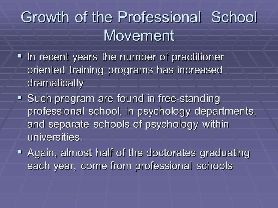 Growth of the Professional School Movement  In recent years the number of practitioner oriented training programs has increased dramatically  Such p