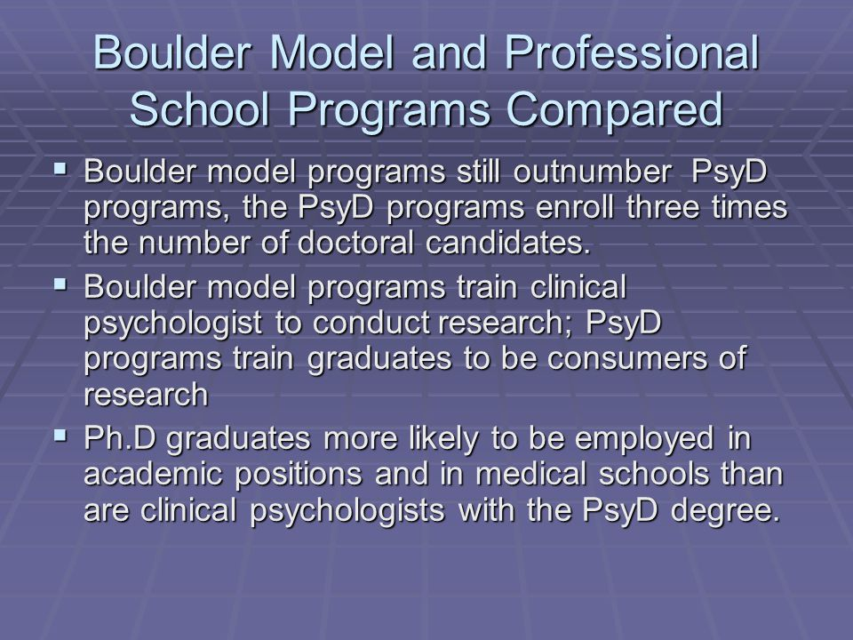 Boulder Model and Professional School Programs Compared  Boulder model programs still outnumber PsyD programs, the PsyD programs enroll three times t