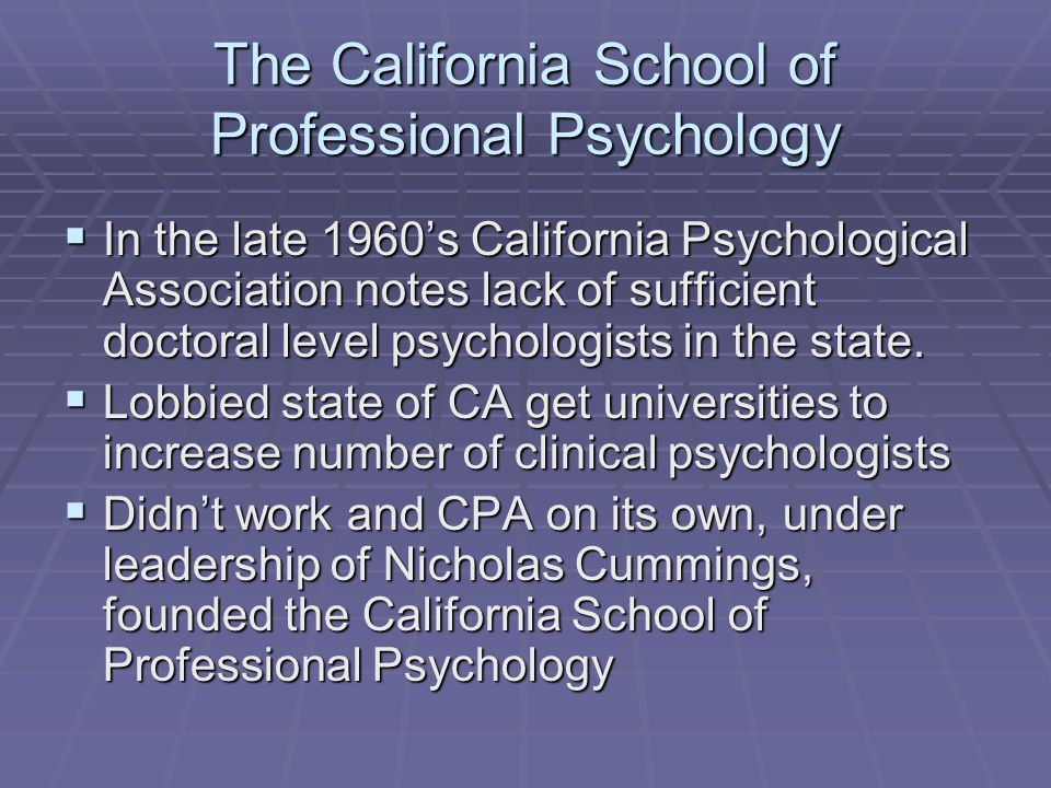 The California School of Professional Psychology  In the late 1960's California Psychological Association notes lack of sufficient doctoral level psy
