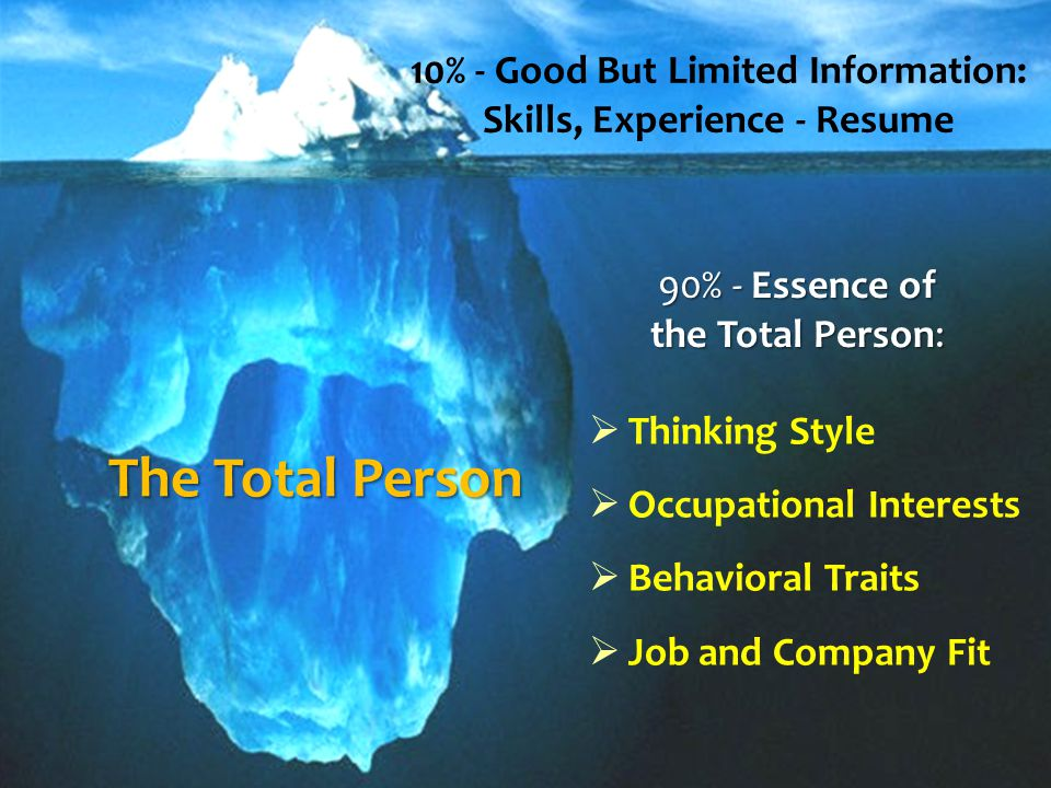The Total Person 10% - Good But Limited Information: Skills, Experience - Resume 90% - Essence of the Total Person:  Thinking Style  Occupational Interests  Behavioral Traits  Job and Company Fit
