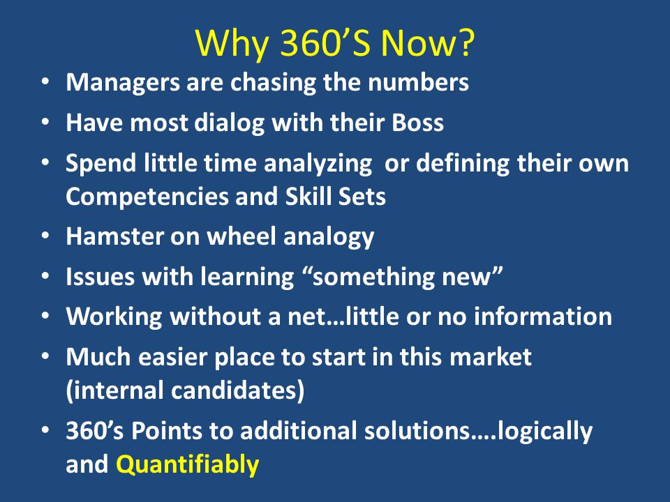 Why 360'S Now.