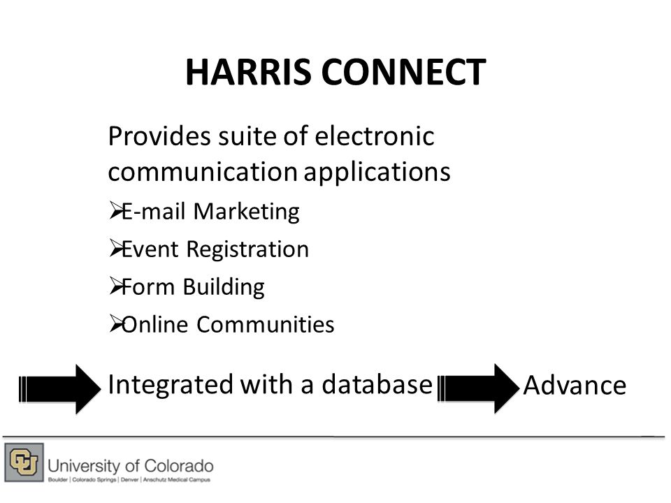ONLINE COMMUNITIES CU system Alumni, donors, faculty/staff, students and friends Boulder Alumni and students Leads Parents Denver Alumni Anschutz Alumni Colorado Springs Alumni