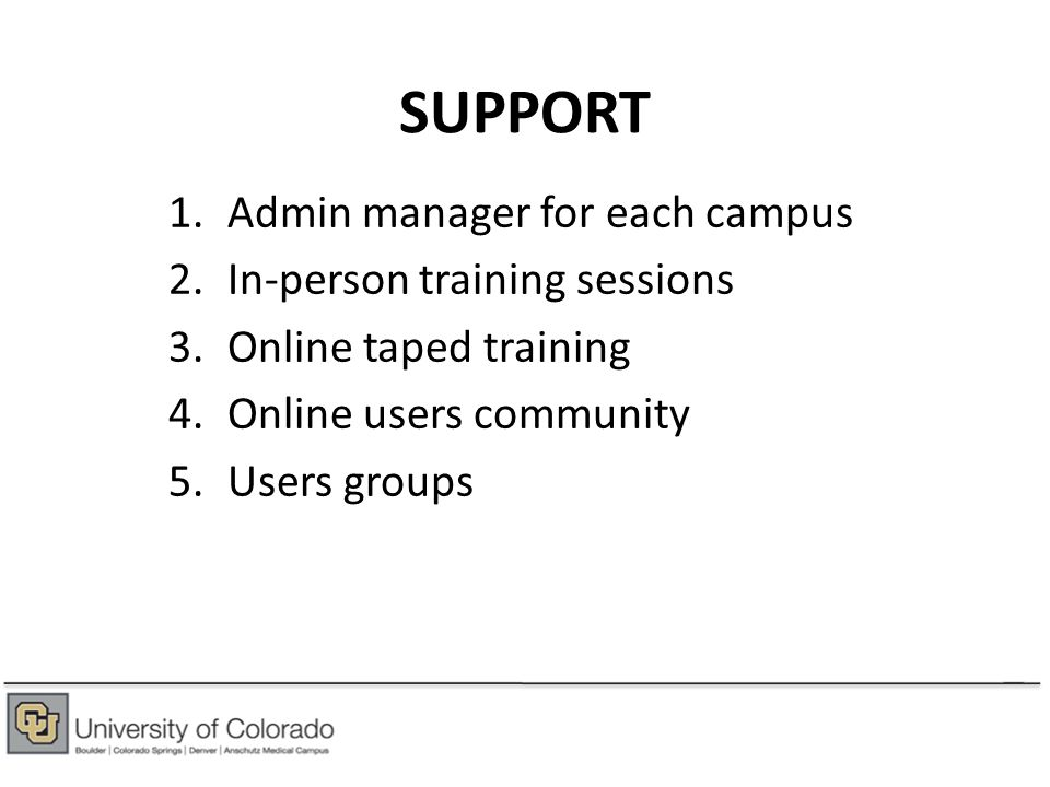 SUPPORT 1.Admin manager for each campus 2.In-person training sessions 3.Online taped training 4.Online users community 5.Users groups
