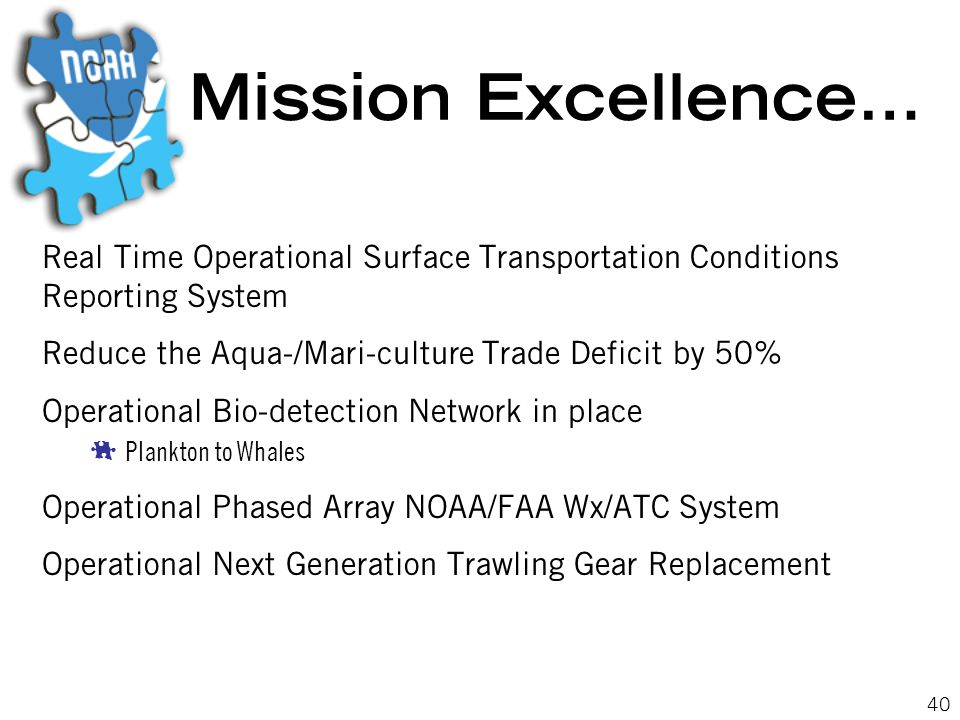 40 Mission Excellence… Real Time Operational Surface Transportation Conditions Reporting System Reduce the Aqua-/Mari-culture Trade Deficit by 50% Operational Bio-detection Network in place  Plankton to Whales Operational Phased Array NOAA/FAA Wx/ATC System Operational Next Generation Trawling Gear Replacement