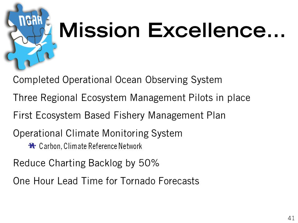 41 Mission Excellence… Completed Operational Ocean Observing System Three Regional Ecosystem Management Pilots in place First Ecosystem Based Fishery Management Plan Operational Climate Monitoring System  Carbon, Climate Reference Network Reduce Charting Backlog by 50% One Hour Lead Time for Tornado Forecasts