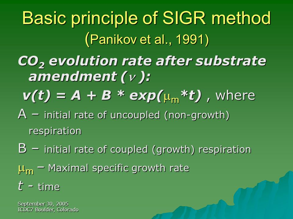 September 30, 2005 ICDC7 Boulder, Colorado Basic principle of SIGR method ( Panikov et al., 1991) CO 2 evolution rate after substrate amendment ( ): v(t) = A + B * exp( m *t), where v(t) = A + B * exp( m *t), where A – initial rate of uncoupled (non-growth) respiration B – initial rate of coupled (growth) respiration  m – Maximal specific growth rate t - time