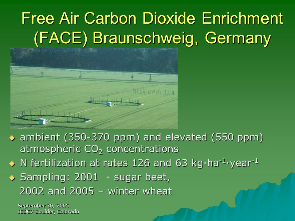 September 30, 2005 ICDC7 Boulder, Colorado Free Air Carbon Dioxide Enrichment (FACE) Braunschweig, Germany  ambient (350-370 ppm) and elevated (550 ppm) atmospheric CO 2 concentrations  N fertilization at rates 126 and 63 kg·ha -1 ·year -1  Sampling: 2001 - sugar beet, 2002 and 2005 – winter wheat 2002 and 2005 – winter wheat