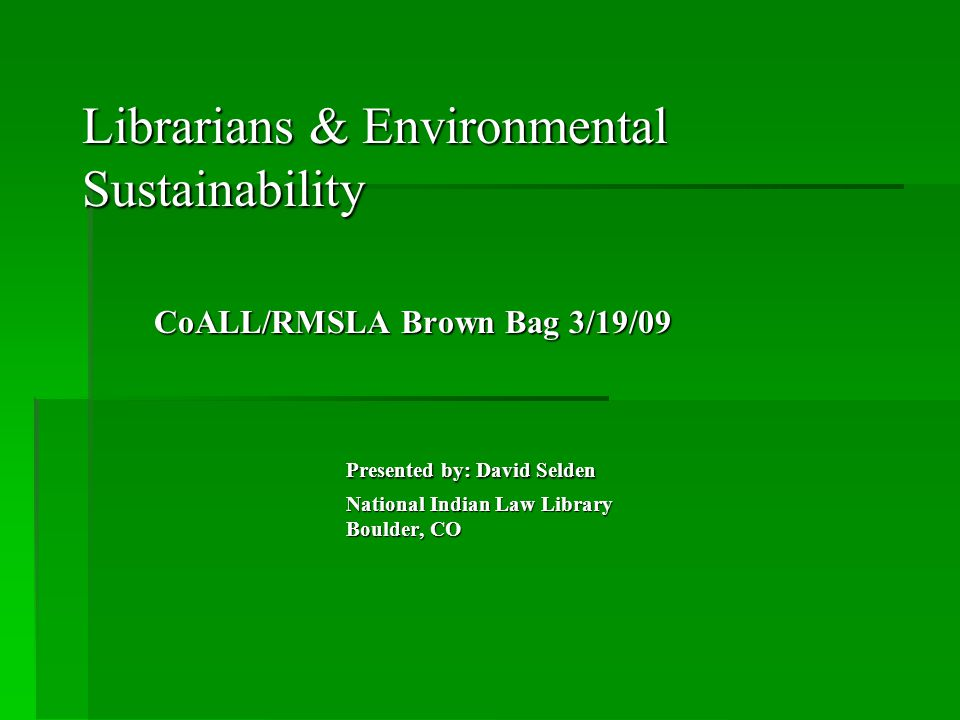 What can Librarians do? National Program – ABA-EPA Law Office Climate Challenge