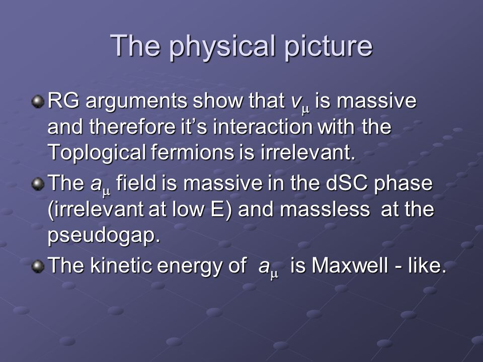 The physical picture RG arguments show that v  is massive and therefore it's interaction with the Toplogical fermions is irrelevant.