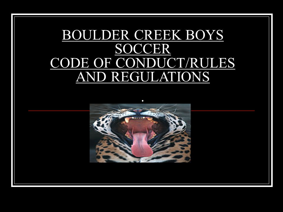 BOULDER CREEK BOYS SOCCER CODE OF CONDUCT/RULES AND REGULATIONS.