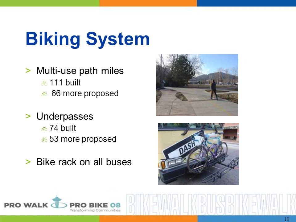 10 Biking System >Multi-use path miles  111 built  66 more proposed >Underpasses  74 built  53 more proposed >Bike rack on all buses
