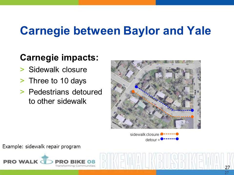 27 Carnegie between Baylor and Yale Carnegie impacts: >Sidewalk closure >Three to 10 days >Pedestrians detoured to other sidewalk sidewalk closure = detour = Example: sidewalk repair program 27