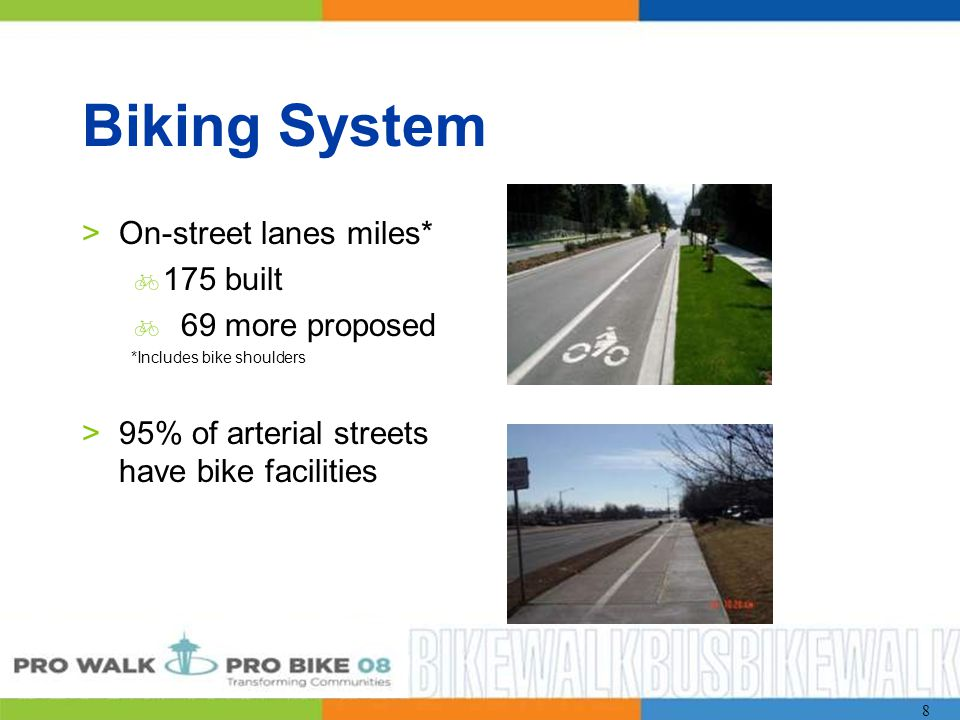 8 Biking System >On-street lanes miles*  175 built  69 more proposed *Includes bike shoulders >95% of arterial streets have bike facilities