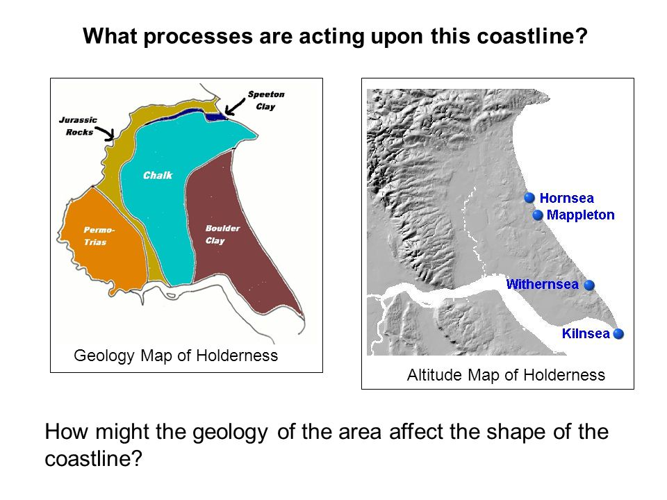How might the geology of the area affect the shape of the coastline? What processes are acting upon this coastline? Geology Map of Holderness Altitude