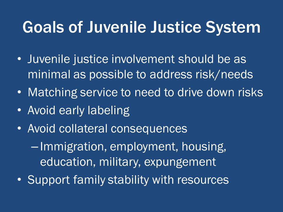 Goals of Juvenile Justice System Juvenile justice involvement should be as minimal as possible to address risk/needs Matching service to need to drive