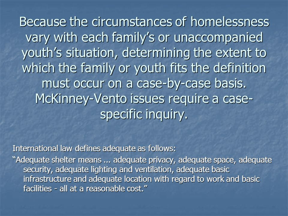 Because the circumstances of homelessness vary with each family's or unaccompanied youth's situation, determining the extent to which the family or youth fits the definition must occur on a case-by-case basis.