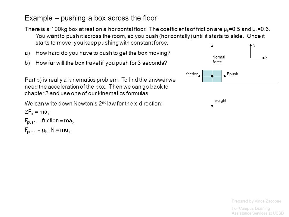 Prepared by Vince Zaccone For Campus Learning Assistance Services at UCSB weight Normal force Fpushfriction x y Part b) is really a kinematics problem.